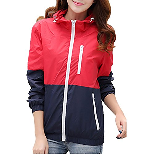- Miouke Womens Lightweight Windbreakers Sun Protection Outdoor Hooded Sports Outwear Quick Dry Jacket Lovers Coat,Red,US Size XS(Tag Size M)