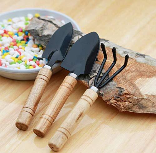 (MALARNEY 3 Piece Gardening Tool Set Mini Wood Handle Shovel Trowel Gardening Tools for Flowers Succulent)