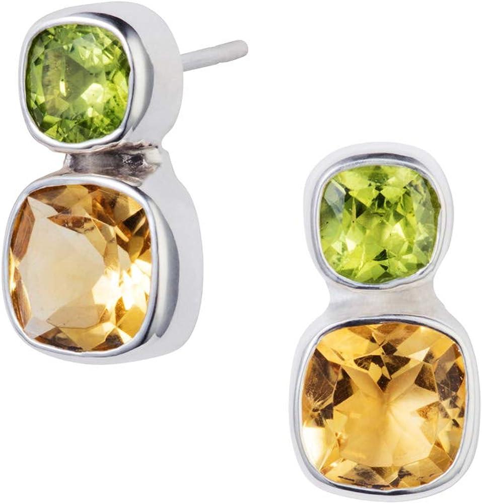 Christin Ranger plata Stud pendientes con amarillo citrino y peridoto piedras preciosas