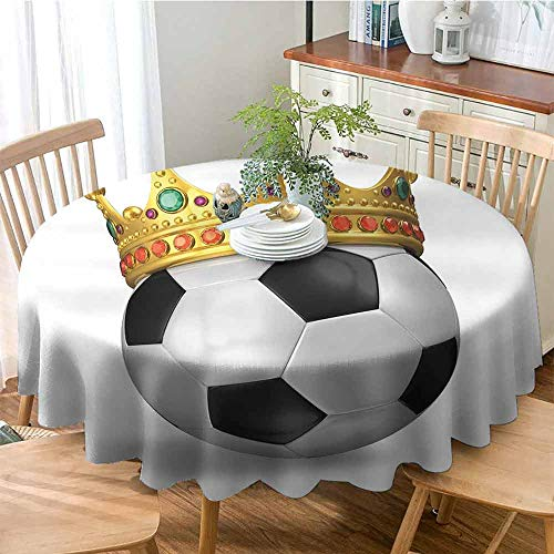 SONGDAYONE Durable Round Tablecloth King Football Soccer Championship Inspired Ball Crown with Ornaments Image Print Will not Fade,D47 QueenFull