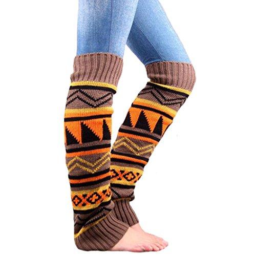 Cotton Leg Warmers Socks,Hemlock Womens Girl's Keep Warm Knitting Leg Stocking Boot Covers (Khaki)