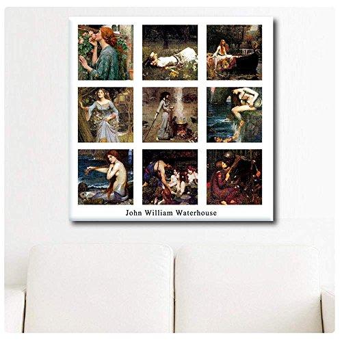 Alonline Art - Collage 9 Ophelia Mercy Smoke Siren Waterhouse POSTER PRINTS ROLLED (Print on High Quality Fine Art PHOTO PAPER) 35
