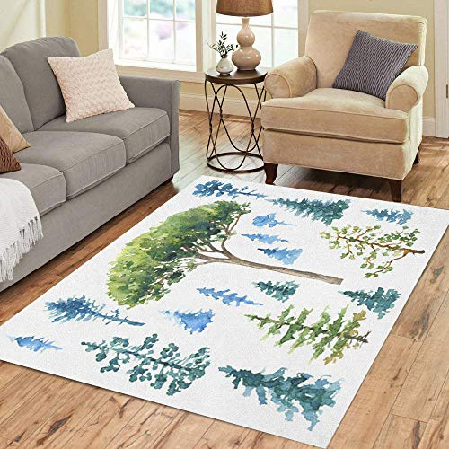Semtomn Area Rug 5' X 7' Blue Watercolor Painting of Conifers and Evergreen Trees White Home Decor Collection Floor Rugs Carpet for Living Room Bedroom Dining Room