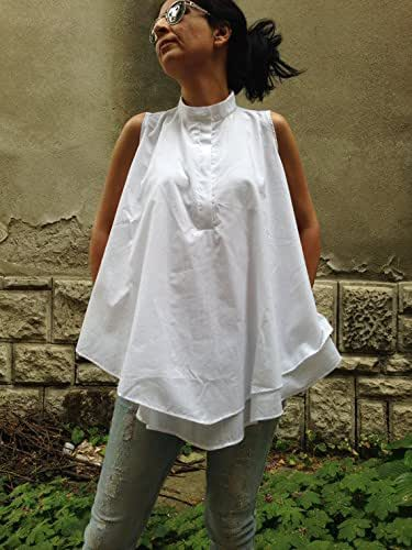 Red MinimalistAssymetrical Lagenlook Blouse Womens Extravagant Top Cotton casual top
