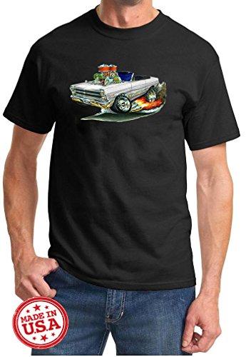 Maddmax Car Art 1966 1967 Ford Fairlane Convertible Cartoon Muscle Car Design Tshirt 3XL Black