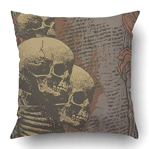 YYERINX Throw Pillow Covers Halloween Floral Skulls Engraved Retro Style Vintage Music Abstract Alternative Angry Cartoon Polyester 18 X 18 Inch Square Hidden Zipper Decorative Pillowcase -