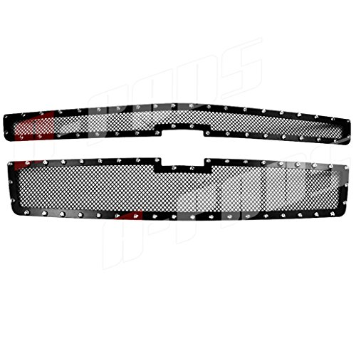 A-PADS 2PC Upper Main Black Mesh Rivet Studs Grille For Chevy SUBURBAN 2015 2016 - WITH Logo Show OVERLAY/Bolt-On
