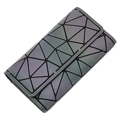 MEWENTY Women's Wallet Geometric Holographic Purse Luminous Long Wallets Eco-friendly Leather Purses Shard Lattice Credit card Bag (Diamond) by MEWENTY