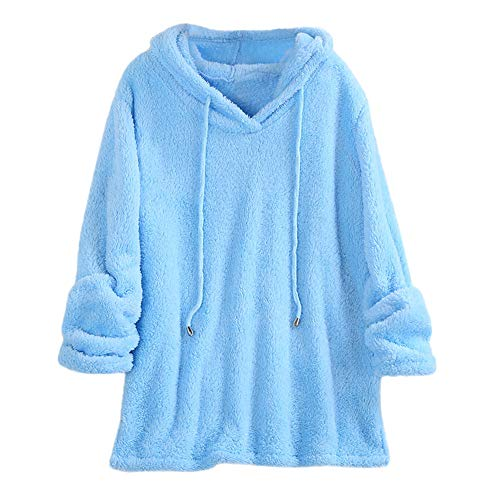 Assistant Sweatshirt Hooded (ANJUNIE Winte Women Plush Hooded Pullover Solid Color Long Sleeve Sweatshirts Tops(Blue,L))