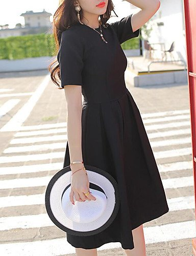 Mujer Pequeño Negro Vestido Noche Vintage,Un Color Escote Redondo Hasta la Rodilla Manga Corta Algodón Verano Tiro Medio Rígido Medio