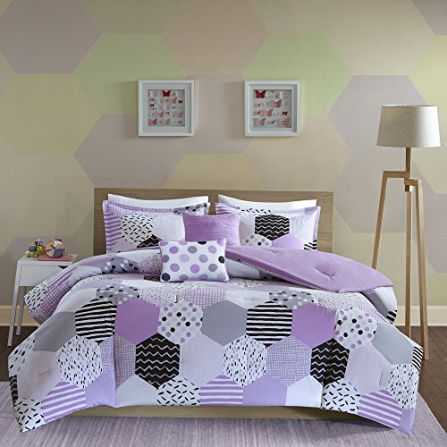 Geometric Reversible Textured Quilt Set Polyester Bright White Full//Queen