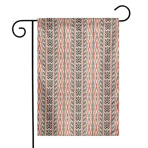 (Mannwarehouse Southwestern Garden Flag Traditional Vertical Borders Inspired by Primitive Art Ikat Style Ancient Premium Material W12 x L18 Multicolor)