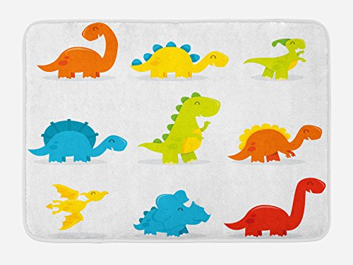 Ambesonne Dinosaur Bath Mat, Cute and Funny Dinosaurs Set Cartoon Style Colorful Collection Kids Nursery Theme, Plush Bathroom Decor Mat with Non Slip Backing, 29.5 W X 17.5 W Inches, Multicolor by Ambesonne