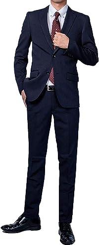 スーツ メンズ ビジネス (豊富なデザイン) スリム デザイン ネイビー ブラック グレー ストライプ YA4~BE8 ストレッチ オールシーズン