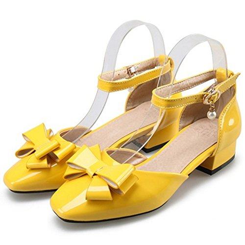 Donna Fiocco Yellow TAOFFEN Caviglia Cinturino Sandali alla zwA4dqw