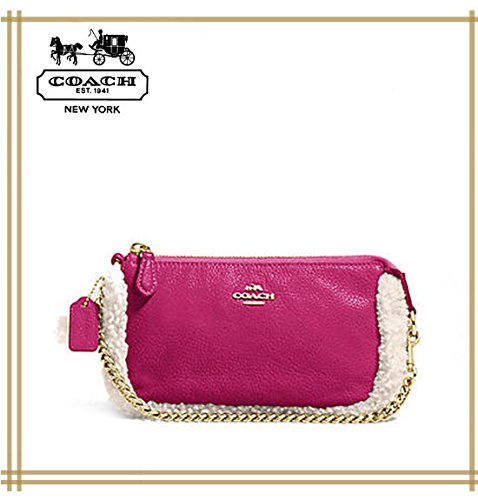 Coach Large Wristlet 19 in Leather and Shearling Cranberry F64705 IMEI4 by Coach