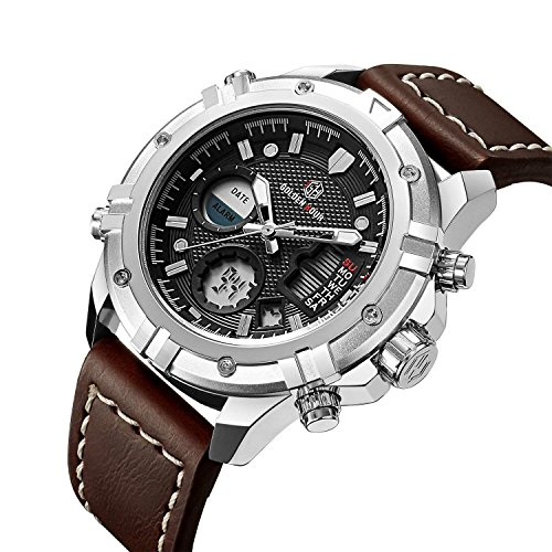 Fashion Luxury Brand Men Waterproof Digital Analog Military Sports Watches Men's Quartz Brown Leather Wrist Watch