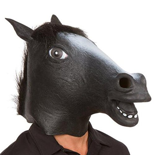 [XIAO MO GU Halloween Costume Party Latex Animal Horse Head Mask] (Homemade Scary Clown Halloween Costumes)
