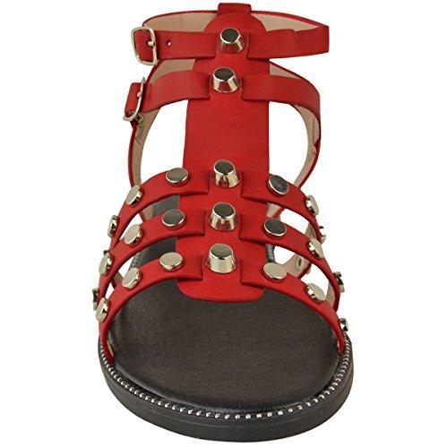 Tiras Imitación Sandalias Cuero Thirsty Tachuelas Con Mujer Vacaciones Heelberry Rojo Plano Tacón Gladiador De Informal Fashion Bajo ZqTPYq