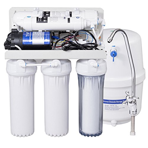 Costway Top Tier 5-Stage Ultra Safe Reverse Osmosis Drinking Water Filter System Purifier White by COSTWAY