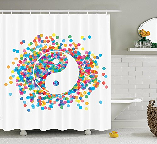 Ying Yang Decor Shower Curtain Set By Ambesonne, Rainbow Color Confetti Effect Graphic Design On Ying Yang Sign Asia Themed Peace Zen Print, Bathroom Accessories, 69W X 70L Inches, Multi