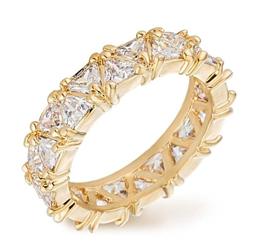 (Samie Collection 6.44ctw Trillion Cut CZ Eternity Wedding Band Rings in 18K Gold, Rose Gold & Rhodium Plating)