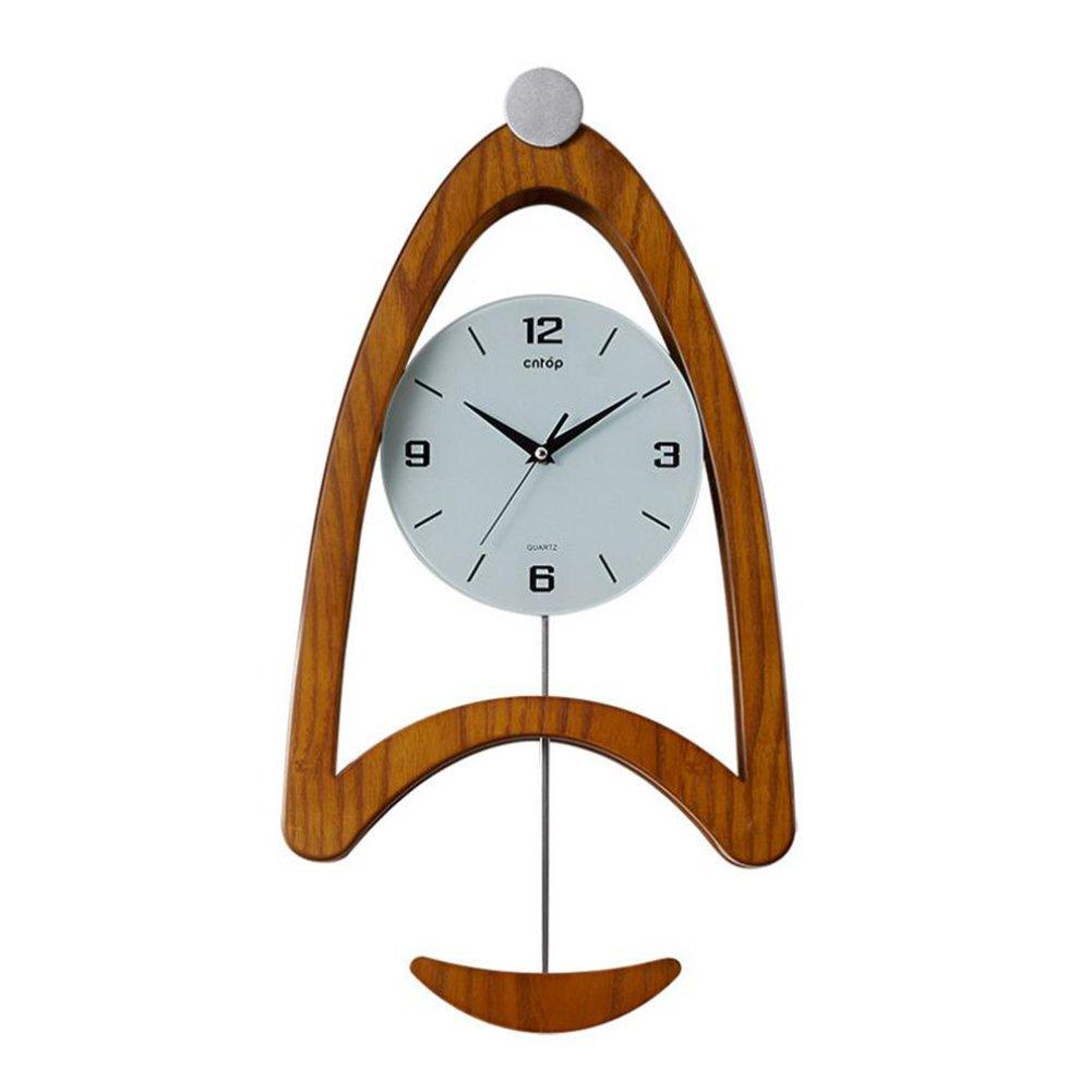 木製の振り子の壁時計、現代的なミュート石英の壁時計掃除掃引の壁時計、寝室、ホームウォールアート (色 : A) B07DNYPSJ7 A A