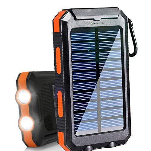 Solar Charger 20000mAh Portable Outdoor Waterproof Mobile Power Bank, Backpack Camping External Backup Battery Pack Dual USB with 2 LED Flashlight Compass for iPhone Android 1