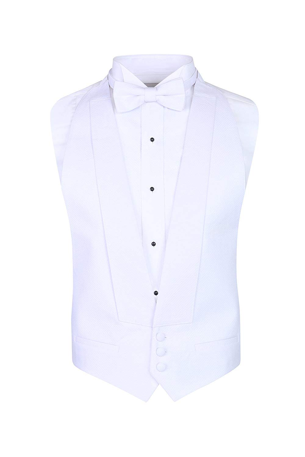 S.H. Churchill & Co. White Pique Formal Vest & Pre Tied Bow Tie - Tailcoat Waistcoat (FITALL, White) by S.H. Churchill & Co.