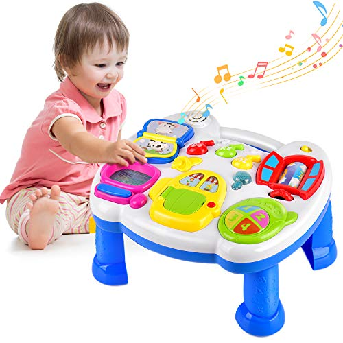 Balnore Kids Musical Table,Learn & Groove Table Education Activity Center Multiple Modes Game for Kids Toddlers - Learn Musical Table