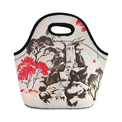 Semtomn Neoprene Lunch Tote Bag Waterfall in the Forest Traditional Japanese Sumi E Reusable Cooler Bags Insulated Thermal Picnic Handbag for Travel,School,Outdoors,Work - Traditional Waterfall
