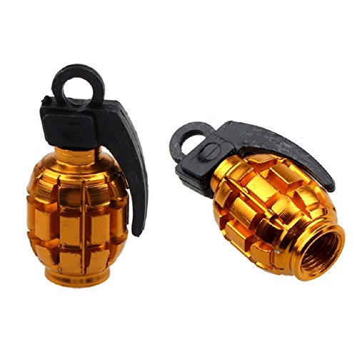 Lowpricenice 2PCS Grenade Alloy Valve Caps Dust Covers Bike Bicycle MTB BMX