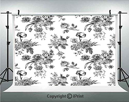 - Black and White Photography Backdrops Vintage Floral Pattern Victorian Classic Royal Inspired New Modern Art,Birthday Party Background Customized Microfiber Photo Studio Props,5x3ft,Black and White