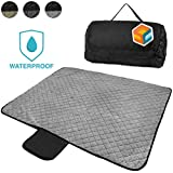 SUNCUBE Waterproof Picnic Blanket | Large Camping Blanket for Outdoor Festivals, Concerts, Beach, Park | All Weather Wearable Foldable Blanket Mat (Light Grey)