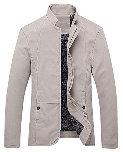 chouyatou Men's Vintage Banded Collar Zip-Front Lightweigth Cotton Casual Jacket (Large, Beige)