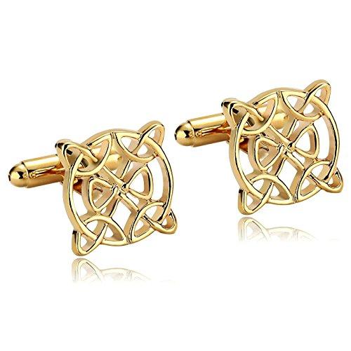 Aooaz Mens Stainless Steel Cufflinks Gold Round Framed Celtic Knot Cross Shirt Wedding 1.7X1.7Cm Gift Box ()