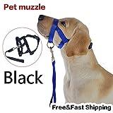 Black Pet Adjustable Dog Muzzle Fabric Nylon Comfortable Soft No Bark Bite Chew Size:Black L