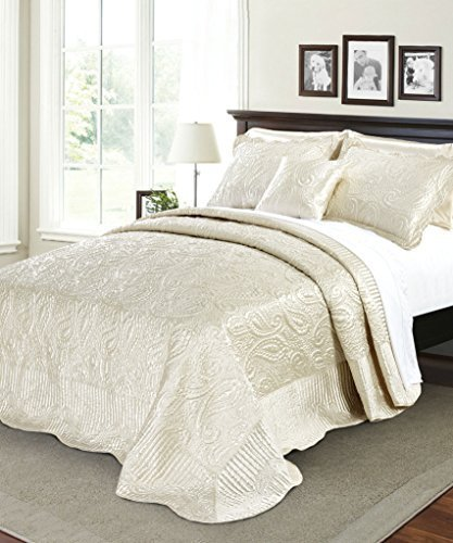 Embroidered Satin Iron (Serenta Quilted Satin 4 Piece Bedspread Set, Queen,)