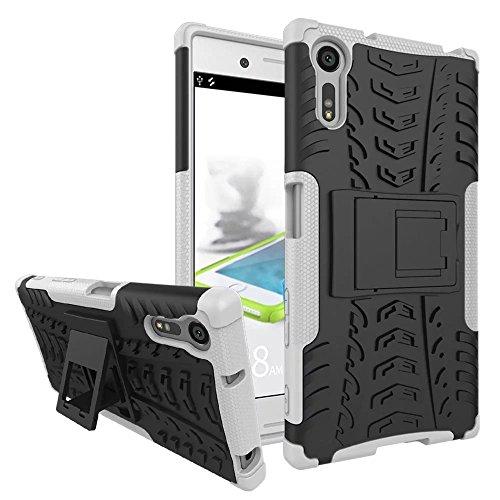 YHUISEN Nuevo Dual Layer Hybrid Armor Case Desmontable [Kickstand] 2 en 1 resistente a los golpes fuerte resistente cubierta de la caja para Sony Xperia XZ / XZs ( Color : Pink ) White