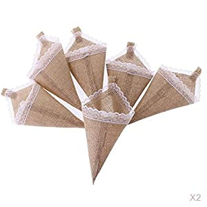 MagiDeal 12pcs Hanging Burlap Lace Flower Basket Pew Cone Wedding Home Decoration DIY 57