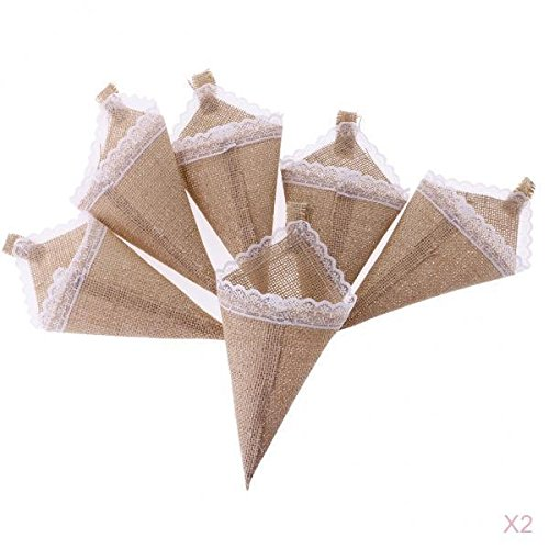 MagiDeal 12pcs Hanging Burlap Lace Flower Basket Pew Cone Wedding Home Decoration DIY non-brand