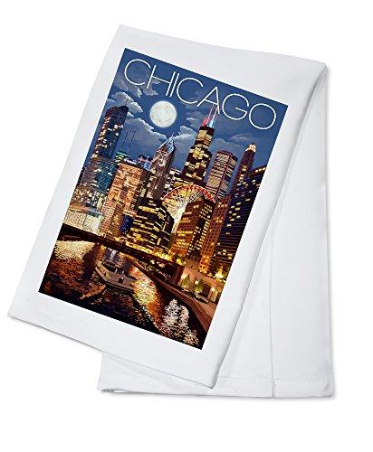 Chicago, Illinois - Skyline at Night (100% Cotton Kitchen Towel)