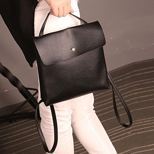 Travel Leather Satchel Inkach Purse School Fashion Bags Backpack Bag Black Womens Rucksack wqIqH18