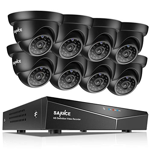 SANNCE 8-Channel HD 1080N Home Security Camera System and (8) 720P Indoor/Outdoor Weatherproof Cameras with IR Night Vision LEDs, Remote Access – NO HDD