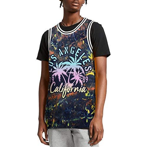 SUNIE Mens 3D Printed Palm Trees Los Angeles California Crazy Basketball Jerseys Tank Top Vest Tees -