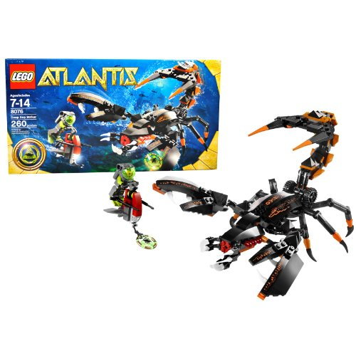 Lego Year 2010 Atlantis Series Set #8076 - DEEP SEA STRIKER with Scorpion Guardian, Sea Scooter with Dual Harpoons, Green Atlantis Treasure Key and 1 Diver Minifigure (Total Pieces: 260)