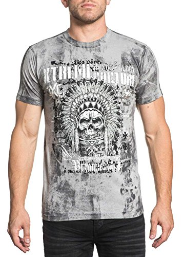 Xtreme Couture Men's Motor Oil Tee Shirt Silver Grey 2X-Large