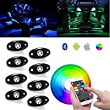 8Pods RGB LED Rock Lights With Bluetooth Controller&Cell Phone Control&Timing Function&Music Mode&Underglow LED Neon Light Kit