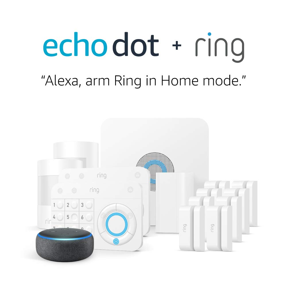 Ring Alarm 14 Piece Kit (1st Gen) with Echo Dot, Works with Alexa