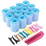 Self Grip Hair Rollers Set, with Hairdressing Curlers (Large, Medium, Small), Folding Pocket